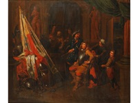 the interior of an armory with a soldier being fitted and various attendants by balthasar van den bossche