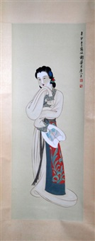 chinese ink and color scroll painting of a beauty by xie zhiliu