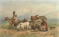 travellers in a caucasian landscape by konstantin nikolaevich filippov