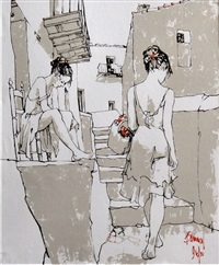 two young women in an alley by bernard dufour