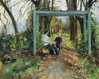 mutter mit kind auf einer gartenbank by hula adjukiewicz