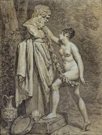 vestale rendant hommage à bacchus by pierre claude françois delorme