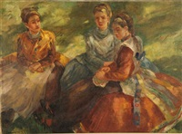 trois femmes conversant by paul udvary