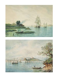 san vicente de la barquera, santander and sailing vessels coming into port (pair) by raphael monleon y torres