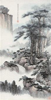 松壑云泉图 立轴 设色纸本 (painted in 1935 pine and waterfall) by wu hufan