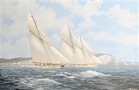 britannia and cicely racing in the solent off the needles by john j. holmes