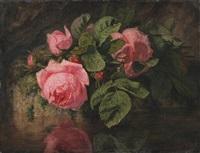 bouquet de roses au bord de l'eau by simon saint-jean