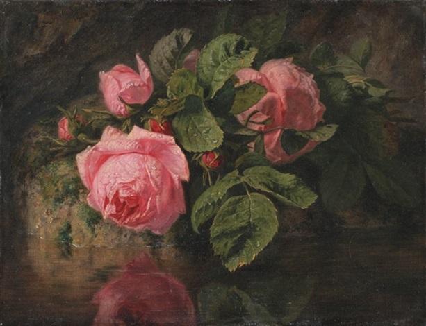 bouquet de roses au bord de leau by simon saint jean