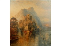 a view of a castle atop a cliff stack with fishing skiffs to the foreground and mountains beyond by george blackie sticks