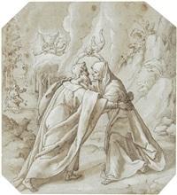 die begegnung von joachim und anna, im hintergrund ein engel, der dem knienden joachim die geburt des kindes verkündet by lazzaro tavarone