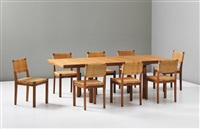 extendable h leg dining table and eight dining chairs, model no. 615 by alvar and aino aalto