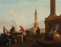 il molo di napoli con la lanterna by carlo bonavia