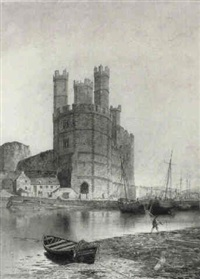caernarvon castle and harbour by j. c. sammons