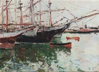 boats in a harbour by viacheslav korenev-novorossiiskii