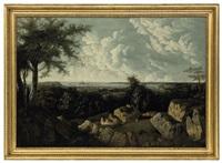panorama of st. helier with elizabeth castle beyond, jersey by legenvre