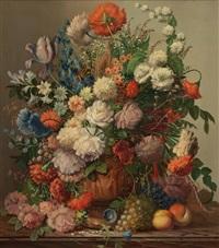 blumenstillleben mit früchten by josef (kamenitzky) steiner