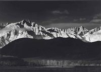 winter sunrise from lone pine, sierra nevada, 1944 by ansel adams