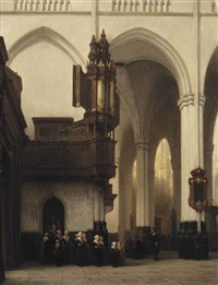 the interior of the nieuwe kerk in amsterdam with burgerweesmeisjes near the transept organ by johannes bosboom