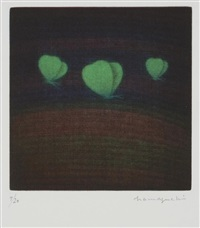 trois papillons (vert) by yozo hamaguchi