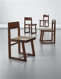 set of four chairs, model no. pj-si-54-a, designed for punjab university, chandigarh by pierre jeanneret