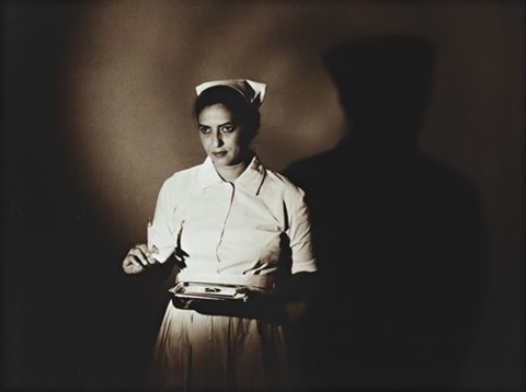 nurse from the mumbai photo studio series by pushpamala n