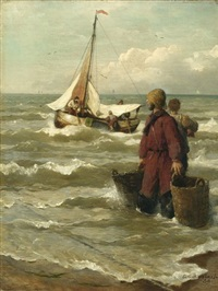 fishermen at the coast by andreas achenbach