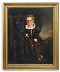 portrait of a young boy with flounced collar and brown suit holding a bow and arrow, leaning on a chippendale chair by william matthew prior