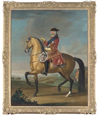 equestrian portrait of king george ii, in a red velvet coat with gold embroidery, in a landscape with a military camp and infantry beyond (collab. w/studio) by david morier