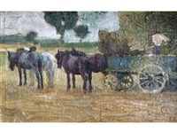 hay wagon by adolphe valette