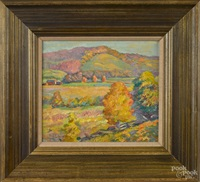 landscape with a barn in the background by fern isabel coppedge