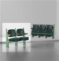 row of two lecture theatre chairs with adjustable seats, designed for the faculté des lettres, université de besançon by jean prouvé