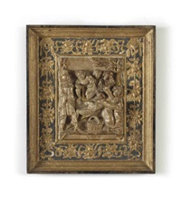 a parcel-gilt carved alabaster relief of the crucifixion by nicolaas daems