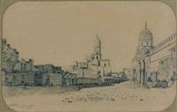 une vue de mosquées du caire (+ une vue du temple de karnak à thèbes; pair) by prosper georges antoine marilhat