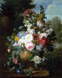 bouquet de fleurs dans un vase pose sur un entablement de marbre avec un nid d'oiseaux by cornelis van spaendonck