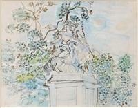 statue equestre dans un parc by raoul dufy