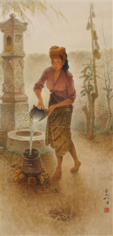 balinese lady fetching water by lee man fong