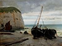 barques de pécheur sur la rive à etretat by alphonse marie de neuville
