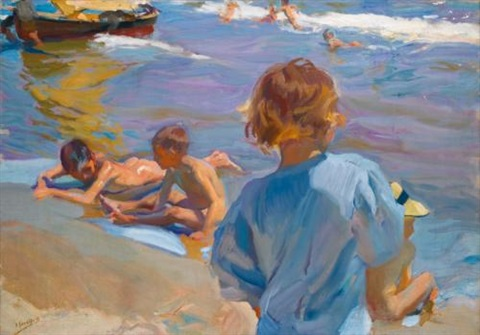 niños en la playa valencia children on the beach valencia by joaquin sorolla y bastida