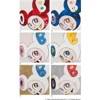 and then x6; dob in pure white robe (6 works) by takashi murakami