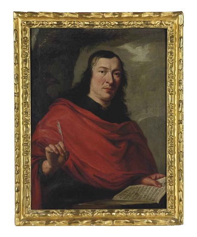 portrait of a gentleman as saint john the evangelist, half-length, with a book and a quill pen by philippe de champaigne