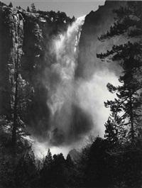bridalveil fall, yosemite national park, 1927 by ansel adams