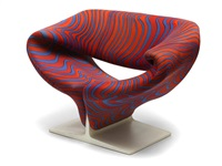 ribbon chair by jack lenor larsen and pierre paulin