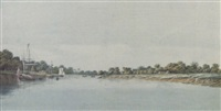 the governor-general's budgerow on the approach to colna, bengal by hubert cornish