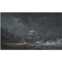 a shipwreck at nighttime off a rocky mediterranean coast by alexandre jean noel