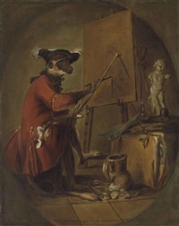 le singe peintre (the monkey painter) by jean baptiste siméon chardin