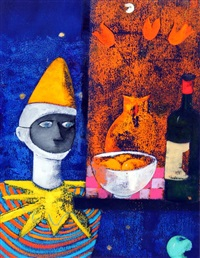 still life with clown by david gordon hughes