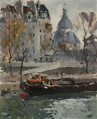paris, péniche sur la seine by paul jean anderbouhr