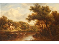 cattle watering beside a cottage in a wooded landscape by richard h. hilder
