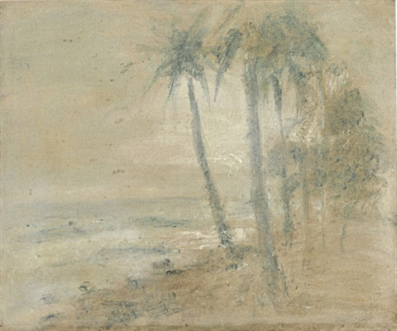 cocoteros en la playa, macuto by armando reverón