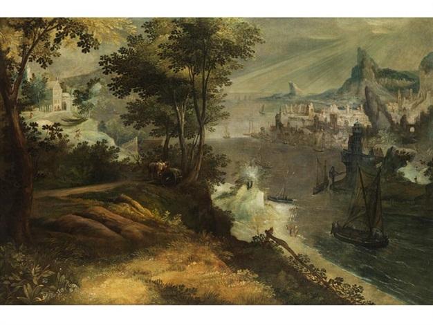 landschaft mit flussmündung und stadt an einer meeresbucht by lucas van valkenborch